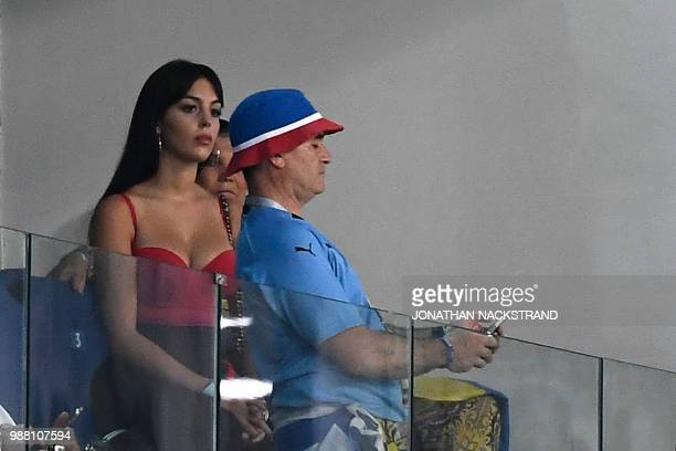 Georgina Rodriguez the girlfriend of Portugal's forward Cristiano Ronaldo is seen ahead of the Russia 2018 World Cup round of 16 football match...