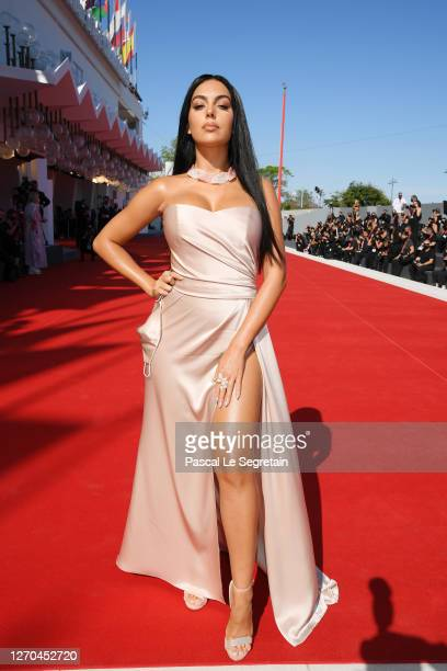 """Georgina Rodriguez walks the red carpet ahead of the movie """"The Human Voice"""" and """"Quo Vadis, Aida?"""" at the 77th Venice Film Festival at on September..."""