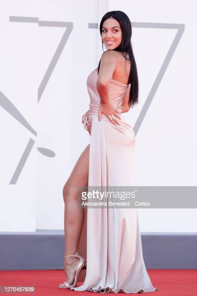 Georgina Rodriguez walks the red carpet ahead of the movie The Human Voice and Quo Vadis Aida at the 77th Venice Film Festival at on September 03...