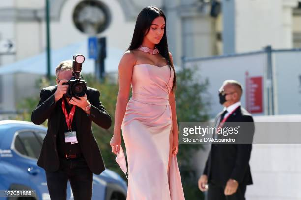 """Georgina Rodriguez walks the red carpet ahead of the movie """"The Human Voice"""" at the 77th Venice Film Festival at on September 03, 2020 in Venice,..."""
