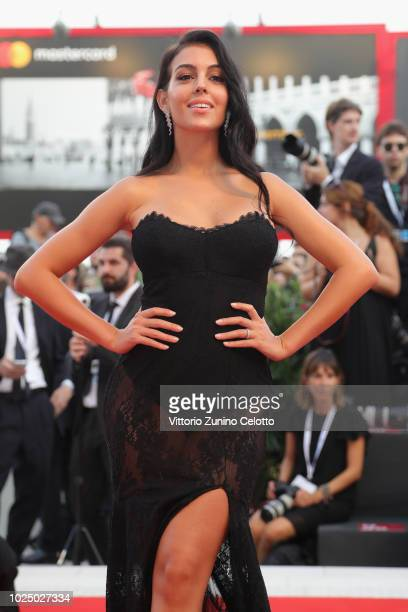 Georgina Rodriguez walks the red carpet ahead of the opening ceremony and the 'First Man' screening during the 75th Venice Film Festival at Sala...