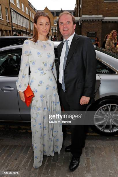 Georgina Rylance and guest arrive in an Audi at the Summer Party 199 for The Old Vic on June 13 2017 in London England