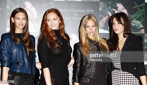 Georgina Stojiljkovic Lily Cole Marloes Horst and Daisy Lowe attend photocall to launch the 2010 Pirelli Calendar on November 19 2009 in London...