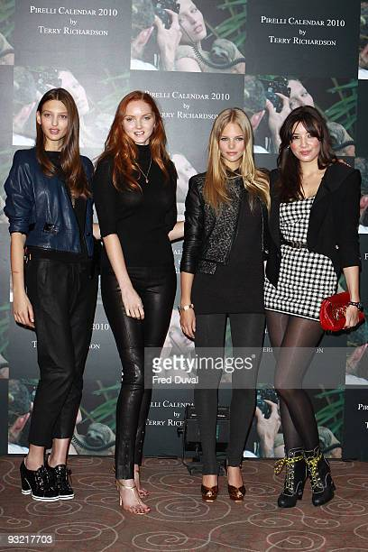 Georgina Stojiljkovic Lily Cole Marloes Horst and Daisy Lowe attends photocall to launch the 2010 Pirelli Calendar on November 19 2009 in London...
