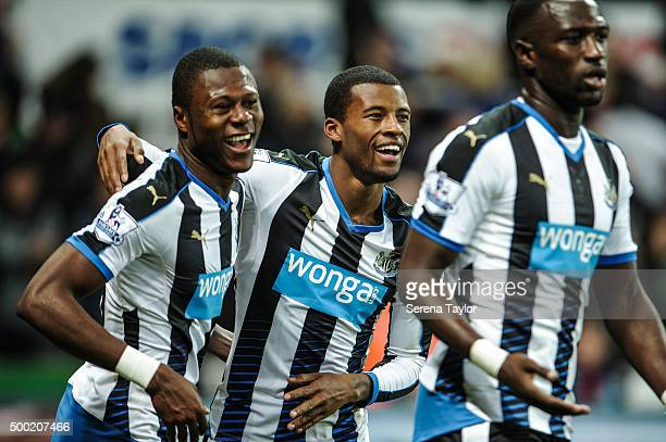 Georgina Wijnaldum of Newcastle celebrates with teammates Chancel Mbemba and Moussa Sissoko after scoring his second goal during the Barclays Premier...