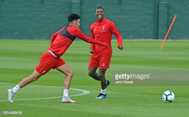 Georginio Wijnaldum and Curtis Jones of Liverpool during a training session at Melwood Training Ground on August 10 2018 in Liverpool England