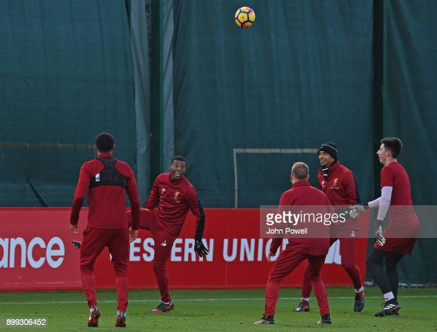 Georginio Wijnaldum and Joel Matip of Liverpool during a training session at Melwood Training Ground on December 28 2017 in Liverpool England