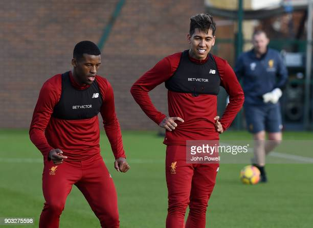 Georginio Wijnaldum and Roberto Firmino of Liverpool during a training session at Melwood Training Ground on January 10 2018 in Liverpool England