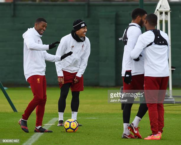 Georginio Wijnaldum and Roberto Firmino of Liverpool during a training session at Melwood Training Ground on January 18 2018 in Liverpool England