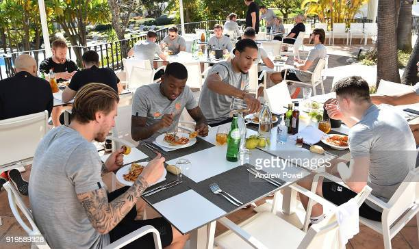 Georginio Wijnaldum and Virgil van Dijk of Liverpool during lunch after a training session at Marbella Football Center on February 17 2018 in...
