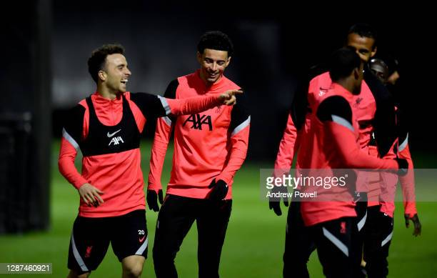 Georginio Wijnaldum, Diogo Jota, Curtis Jones and Joel Matip of Liverpool during a training session ahead of the UEFA Champions League Group D stage...