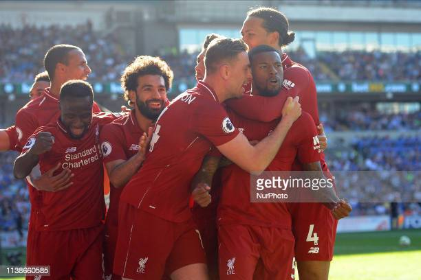 Georginio Wijnaldum during the Premier League match between Cardiff City and Liverpool FC at Cardiff City Stadium on April 21 2019 in Cardiff United...