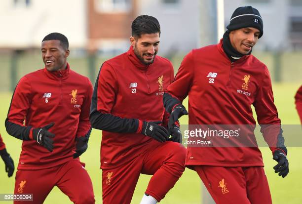 Georginio Wijnaldum Emre Can and Joel Matip of Liverpool during a training session at Melwood Training Ground on December 28 2017 in Liverpool England