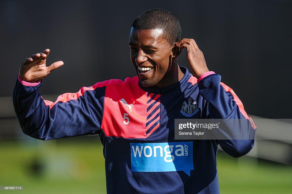 Georginio Wijnaldum laughs during the Newcastle United Training session at The Newcastle United Training Centre on October 2, 2015, in Newcastle upon Tyne, England.