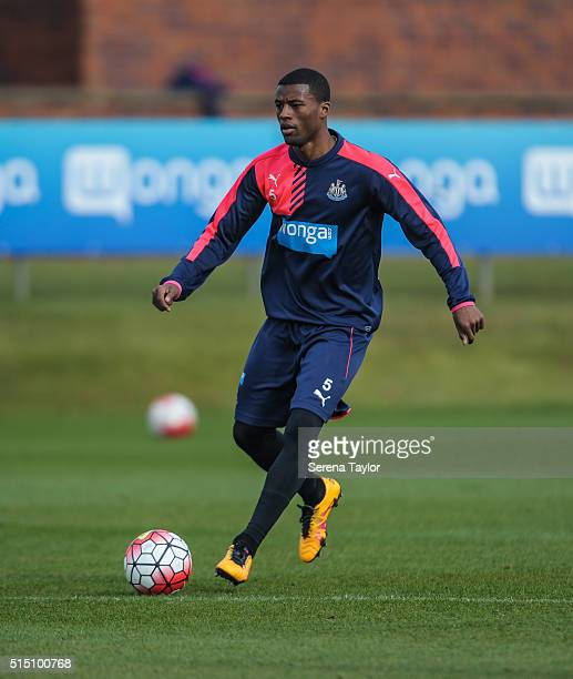 Georginio Wijnaldum looks to pass the ball during the Newcastle United training session at The Newcastle United Training Centre on March 12 in...