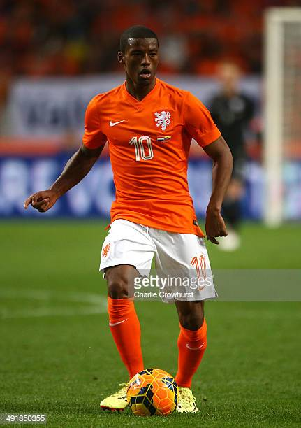 Georginio Wijnaldum of Holland attacks during the International Friendly match between The Netherlands and Ecuador at The Amsterdam Arena on May 17...