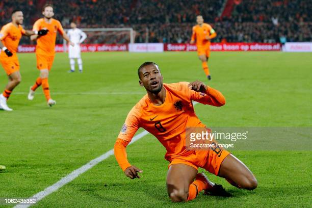Georginio Wijnaldum of Holland celebrates 10 during the UEFA Nations league match between Holland v France at the Feyenoord Stadium on November 16...