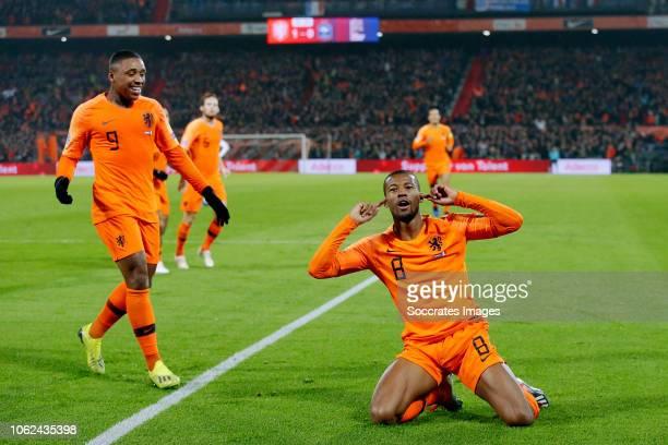 Georginio Wijnaldum of Holland celebrates 10 during the UEFA Nations league match between Holland v France at the Feyenoord Stadium on November 16...