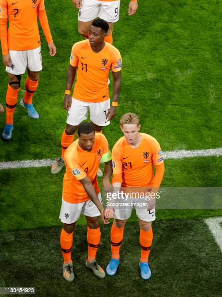Georginio Wijnaldum of Holland celebrates 1-0 with Frenkie de Jong of Holland during the EURO Qualifier match between Holland v Estonia at the Johan...