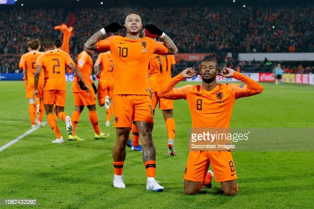 Georginio Wijnaldum of Holland celebrates 10 with Memphis Depay of Holland during the UEFA Nations league match between Holland v France at the...