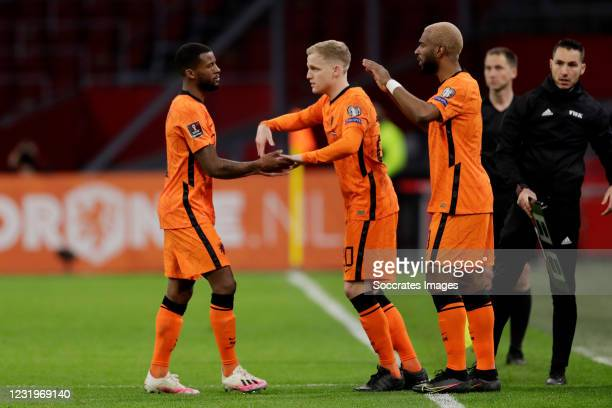 Georginio Wijnaldum of Holland, Donny van de Beek of Holland, Ryan Babel of Holland during the World Cup Qualifier match between Holland v Latvia at...