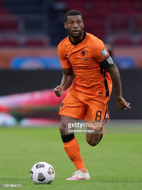 Georginio Wijnaldum of Holland during the World Cup Qualifier match between Holland v Latvia at the Johan Cruijff Arena on March 27, 2021 in...