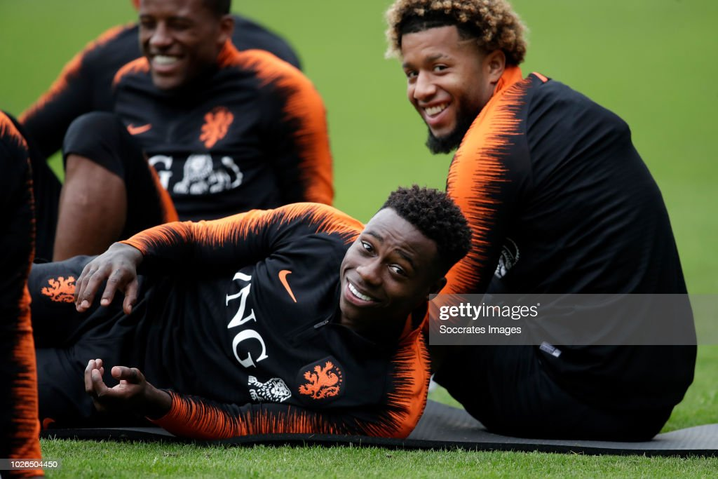 Georginio Wijnaldum of Holland, Quincy Promes of Holland, Tonny Vilhena of Holland during the Training Holland at the KNVB Campus on September 3, 2018 in Zeist Netherlands