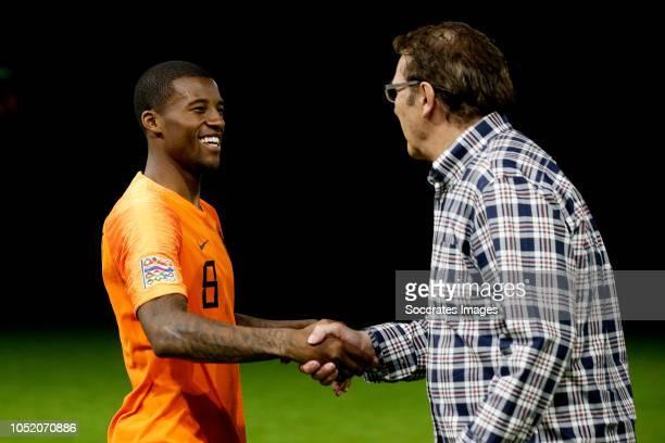 Georginio Wijnaldum of Holland Willem van Hanegem during the UEFA Nations league match between Holland v Germany at the Johan Cruijff Arena on...