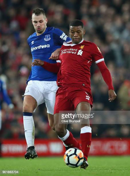 Georginio Wijnaldum of Liverpool and Morgan Schneiderlin of Everton battle for the ball during the Premier League match between Everton and...