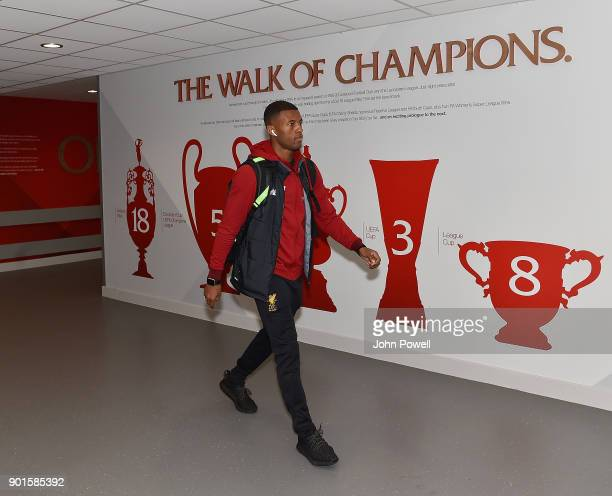 Georginio Wijnaldum of Liverpool arrives before The Emirates FA Cup Third Round match between Liverpool and Everton at Anfield on January 5 2018 in...