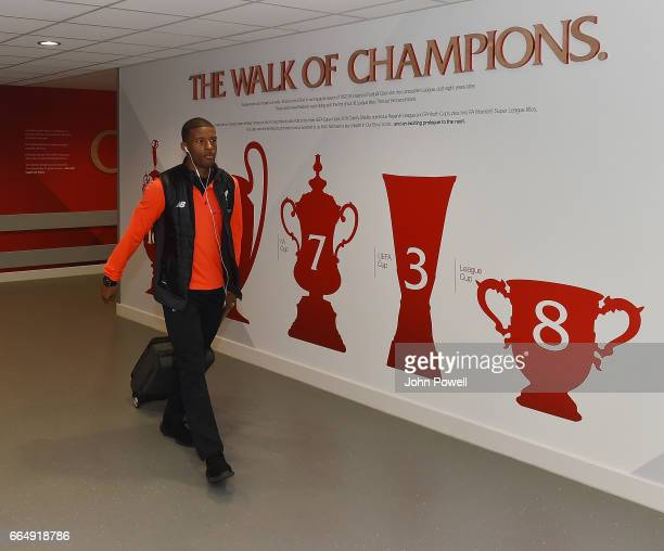 Georginio Wijnaldum of Liverpool arrives before the Premier League match between Liverpool and AFC Bournemouth at Anfield on April 5 2017 in...