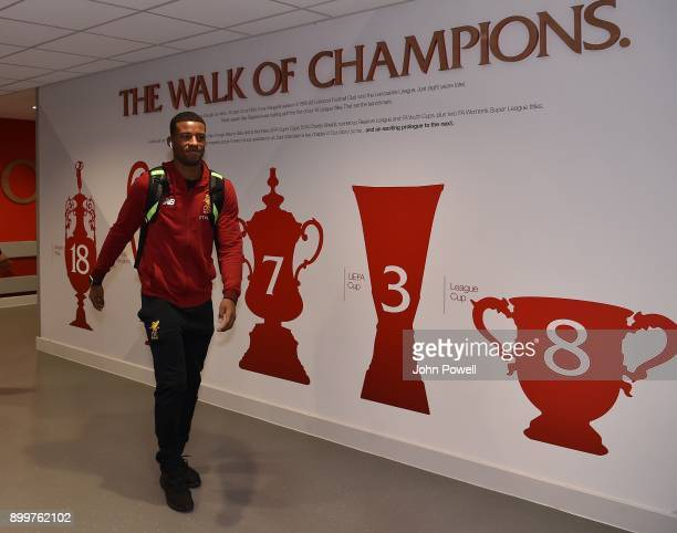 Georginio Wijnaldum of Liverpool Arriving for the Premier League match between Liverpool and Leicester City at Anfield on December 30 2017 in...