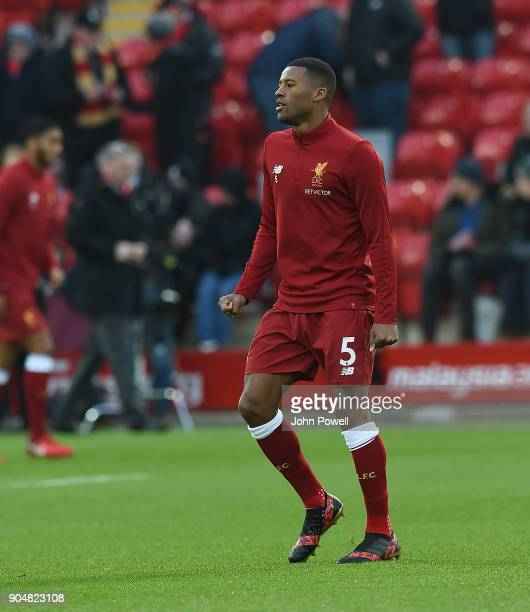 Georginio Wijnaldum of Liverpool before the Premier League match between Liverpool and Manchester City at Anfield on January 14 2018 in Liverpool...