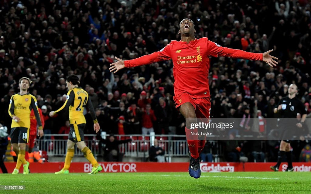 Georginio Wijnaldum of Liverpool Celebrates after his winning goal during the Premier League match between Liverpool and Arsenal at Anfield on March 4, 2017 in Liverpool, England.