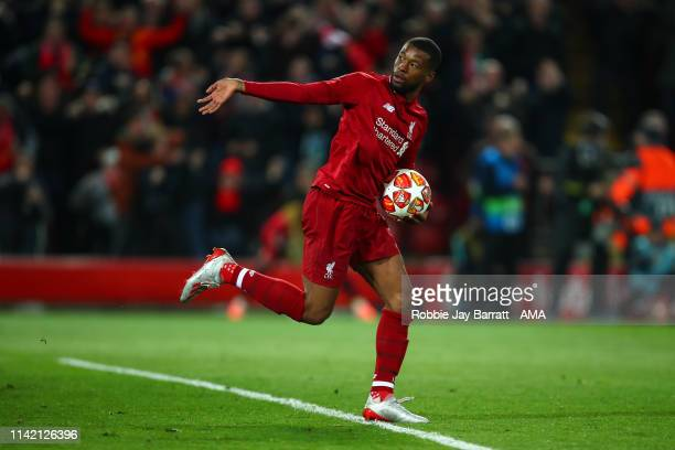 Georginio Wijnaldum of Liverpool celebrates after scoring a goal to make it 30 during the UEFA Champions League Semi Final second leg match between...