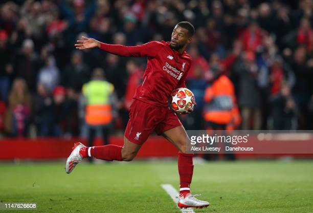 Georginio Wijnaldum of Liverpool celebrates after scoring his first goal during the UEFA Champions League Semi Final second leg match between...