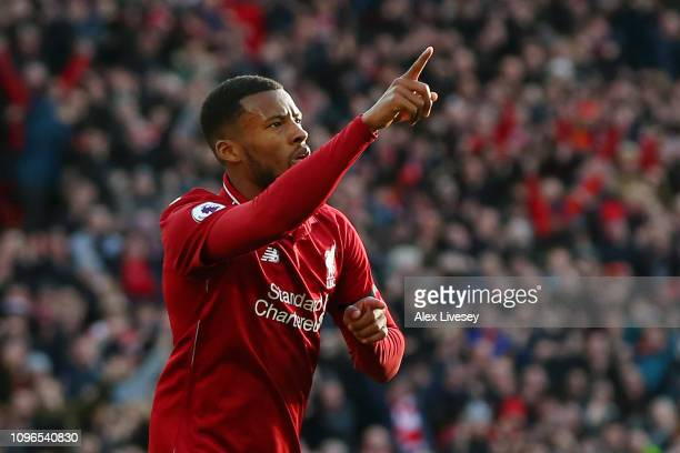 Georginio Wijnaldum of Liverpool celebrates after scoring his team's second goal during the Premier League match between Liverpool FC and AFC...