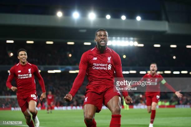 Georginio Wijnaldum of Liverpool celebrates after scoring his team's third goal during the UEFA Champions League Semi Final second leg match between...