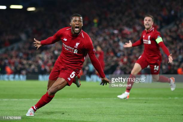 Georginio Wijnaldum of Liverpool celebrates after scoring his team's third goal during the UEFA Champions League Semi Final second leg match between...