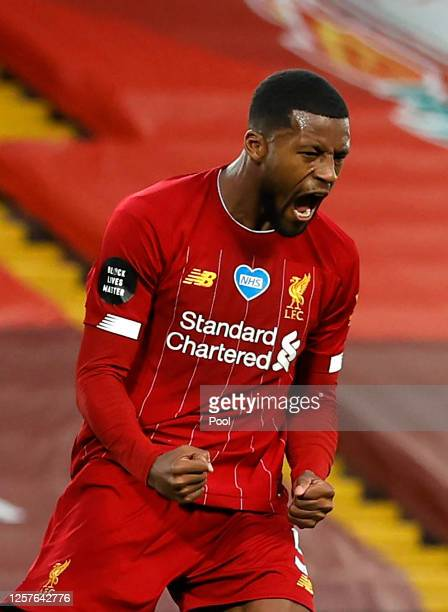 Georginio Wijnaldum of Liverpool celebrates after scoring his team's third goal during the Premier League match between Liverpool FC and Chelsea FC...