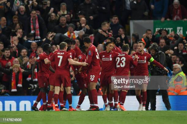 Georginio Wijnaldum of Liverpool celebrates as he scores his team's second goal during the UEFA Champions League Semi Final second leg match between...