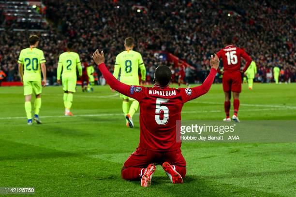 Georginio Wijnaldum of Liverpool celebrates at full time during the UEFA Champions League Semi Final second leg match between Liverpool and Barcelona...