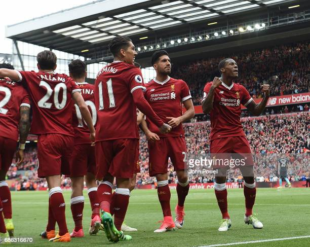 Georginio Wijnaldum of Liverpool celebrates his goal during the Premier League match between Liverpool F.C. And Middlesbrough F.C. At Anfield on May...