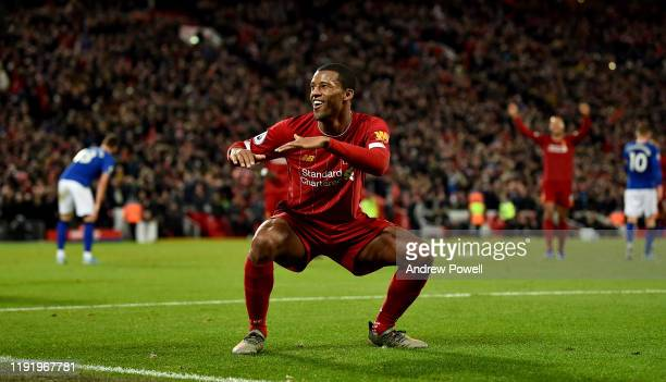 Georginio Wijnaldum of Liverpool celebrating after scoring a goal during the Premier League match between Liverpool FC and Everton FC at Anfield on...