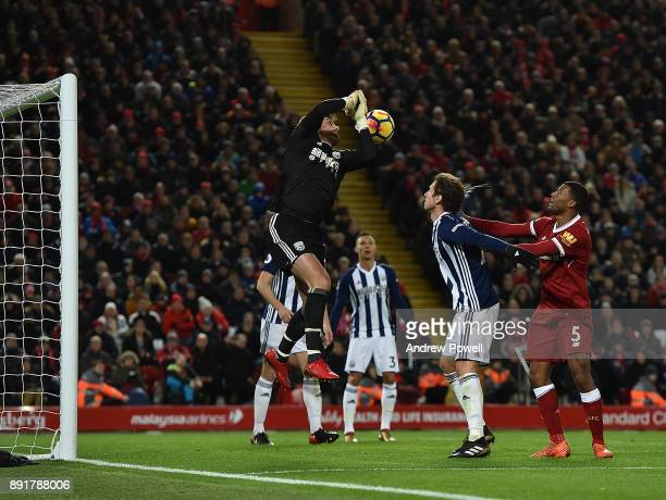 Georginio Wijnaldum of Liverpool comes close during the Premier League match between Liverpool and West Bromwich Albion at Anfield on December 13...