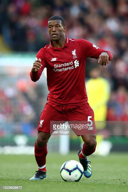 Georginio Wijnaldum of Liverpool controls the ball during the Premier League match between Liverpool FC and Brighton Hove Albion at Anfield on August...