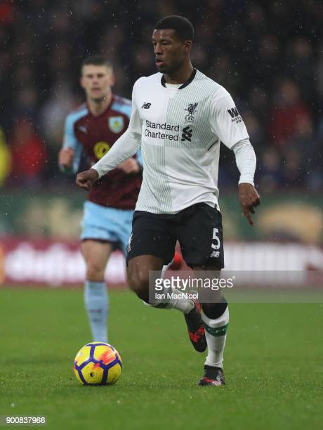 Georginio Wijnaldum of Liverpool controls the ball during the Premier League match between Burnley and Liverpool at Turf Moor on January 1 2018 in...