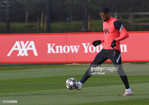 Georginio Wijnaldum of Liverpool during a training session at AXA Training Centre on April 13, 2021 in Kirkby, England.