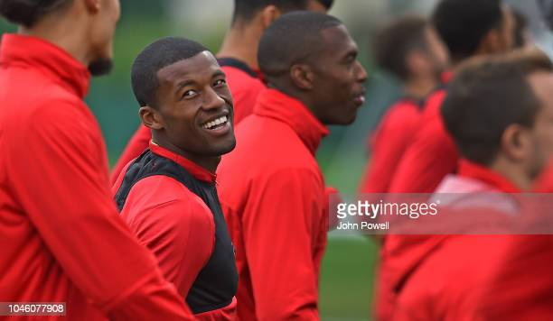 Georginio Wijnaldum of Liverpool during a training session at Melwood Training Ground on October 5 2018 in Liverpool England