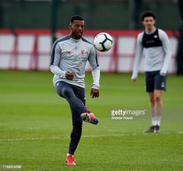 Georginio Wijnaldum of Liverpool during a training session at Melwood Training Ground on March 01 2019 in Liverpool England